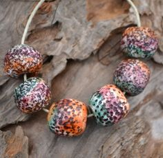 Handmade Polymer Clay Rough Tricolor Beads by KristiBowmanDesign, $8.00