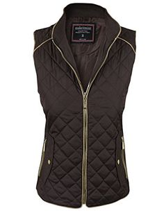makeitmint Women's Basic Solid Quilted Padding Jacket Vest w/ Pockets