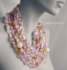Купить КОЛЬЕ Новая ВЕСНА Розовый кварц Жемчуг Серебро Розовое ожерелье Цветы