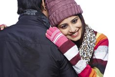 Portrait of a young woman hugging her boyfriend and smiling in winter Hug, Boyfriend, India, Stock Photos, Woman, Portrait, Winter, Image, Delhi India