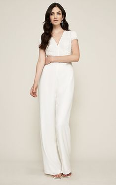 Short sleeve lace top ivory jumpsuit  #bridal #bride #bridaljumpsuit #jumpsuits #weddingjumpsuit #weddingideas