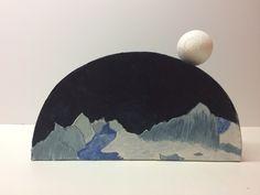 Moon Over Valbella (side A) (25cm L x 5cm W x 15cm H; mixed media, 2017)