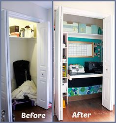 Coat closet to office space makeover