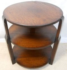 Round Oak Three Tier Coffee Table