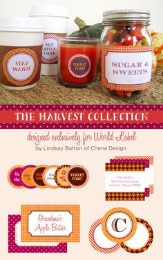 The really well designed collection of labels with a Harvest theme is designed by Lindsay Chenault Bolton of Chenadesign.com Download at blog.worldlabel.com