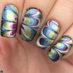 #Metallic #Watermarble #NailArt by #YaGala #@yagala2015 #nails #yagala2015 | via #iconsquare♥•♥•♥Stunning♥•♥•♥