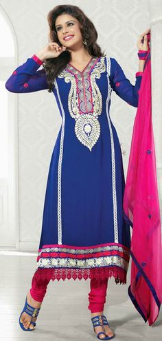 $63.7 Blue Georgette Thread Work Anarkali Salwar Kameez 26521