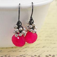 pink chalcedony pearl earrings