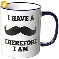 "Wandkings® Tasse, Spruch ""I have a mustache - therfore I am"" - LILA - Tassen mit Spruch | Lustige Kaffeebecher (*Partner-Link)"