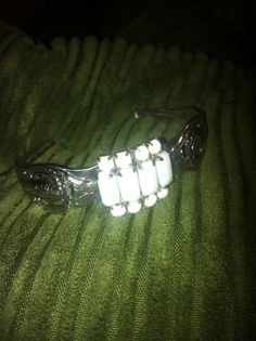 Spoon cuff bracelet with milk glass rhinestone by GeniceRill, $15.00