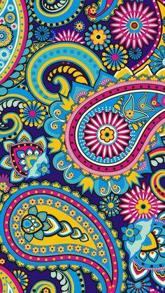 colourful floral motif wallpaper