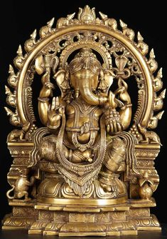 View the Ganesh Statue with Rat Arch 19""