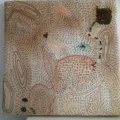 Orienteringskarta för myror Gammal linneservett som jag färjat med te.