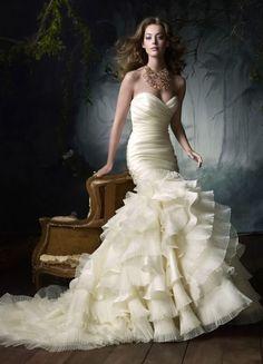 Beautifull Sweatheart neckline mermaid trumpet wedding dress gown (custom order only). $800.00, via Etsy. Gorgeous!