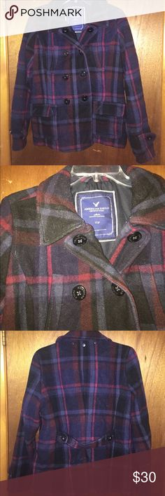 American eagle double breasted peacoat Sold as it. All buttons are in tack but it could be brought to dry cleaner. Overall a great cost that still has a lot of love in it. Colors are navy and burgundy American Eagle Outfitters Jackets & Coats Pea Coats