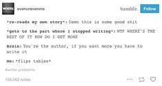 Should I be writing? Yes. Am I writing? No.