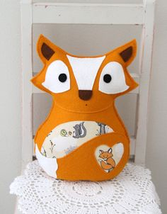 Felt fox toy in orange with organic fabric, stuffed animal toy, organic fabric. $55.00, via Etsy.