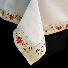 Christmas embroidered tablecloth with the easter flower over border beige fabric and topped with a red hemstitch. Christmas Runner, Christmas Cross, Christmas Ornaments, 1920s Vintage Dresses, Christmas Sheets, Diy And Crafts, Arts And Crafts, Easter Flowers, Crochet Tablecloth