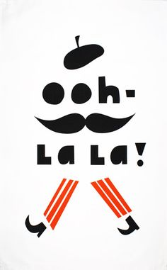 Ooh-La La! tea towel by Darling Clementine - Designer tea towels from ToDryFor.com