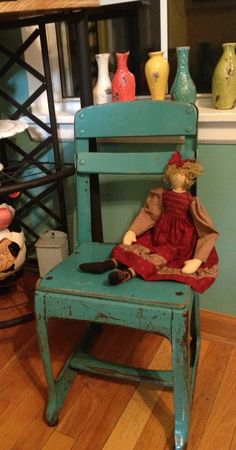 Old Chippy Painted Metal Wood Vintage Child Chair