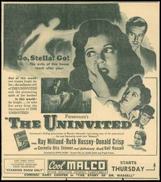 Premiered in Washington D. on Feb. The Uninvited, Vintage Newspaper, Out Of This World, Golden Age, Horror Movies, Film, Washington, Movie Posters, Ads