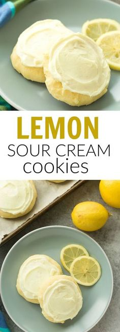 These Lemon Sour Cream Sugar Cookies are soft, moist and loaded with lemon! There's no chilling or rolling -- just stir, drop, bake and frost (if you want to!). Perfect for Easter or Christmas baking.   lemon cookies   easy cookie recipe   Christmas cookies   sour cream cookies