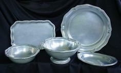 "pewter serving pieces | Details about 5 SERVING PIECE COLLECTION WILTON ARMETALE PEWTER ""QUEEN ..."