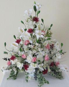 Vintage Flower Arrangements, Artificial Floral Arrangements, Funeral Flower Arrangements, Beautiful Flower Arrangements, Beautiful Flowers, Altar Flowers, Church Flowers, Funeral Flowers, Wedding Flowers