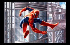 Spiderman Swinging City by ErikVonLehmann on deviantART