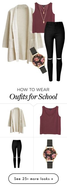 """School outfit"" by selina-maria1 on Polyvore featuring Monki, Olivia Burton, Forever 21, women's clothing, women, female, woman, misses and juniors"
