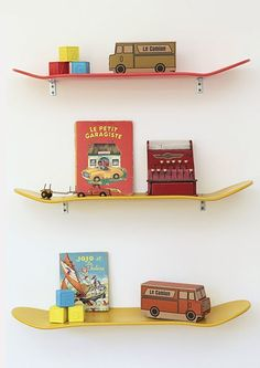 skateboards cool shelves for the boys books and collectibles