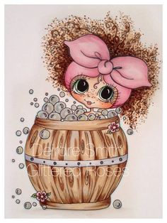 INSTANT DOWNLOAD Digital Digi Stamps Big Eye Big Head Dolls NEW Bearral Bath…