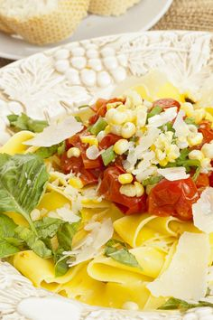 Pappardelle With Corn, Tomatoes & Basil: fast #recipe ready in 20 minutes. #pasta