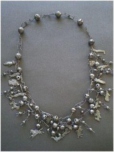 "Spectacular OAXACA Mexico 1960's Handmade Double Strand Silver Bead MILAGROS NECKLACE ~ 26"" Long ~ 93 Grams.."