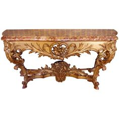 View this item and discover similar for sale at - A finely carved mid century Louis XV style gilt wood Rococo console table, voluptuously carve with interning foliate ornament. The table retains its Rococo Furniture, Modern Furniture, Consoles, Antique Console Table, Console Tables, Marble Top, Home Deco, Entryway Tables, Mesas