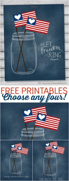FREE patriotic mason jar printables! Choose from 4 styles! |via LollyJane.com