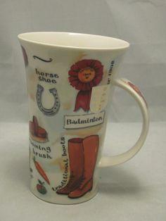 DUNOON Sports Polo Badminton Horse Shoe Saddle Coffee Mug Cup Scotland 18 oz