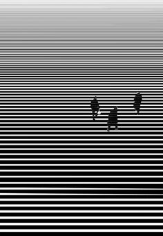 3 people traveling, graphic. Black and White.