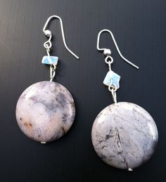 Blue Lace Agate and Moonstone Earrings by TripIntoLight on Etsy, $16.00