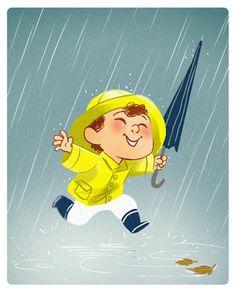 ideas dancing in the rain illustration rainy days Rain Cartoon, Arte Peculiar, Character Art, Character Design, Rain Art, Under The Rain, Singing In The Rain, Children's Book Illustration, Rainy Days