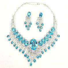 Caribbean Blue AB Crystal Necklace Set Elegant Formal Jewelry