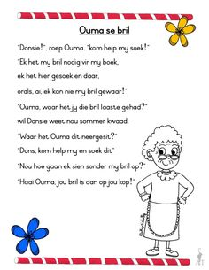 Afrikaans Language, Kids Poems, Phonics Worksheets, Alphabet For Kids, Teaching Aids, Kids Learning Activities, Teaching English, Afrikaans Quotes, Napoleon Hill