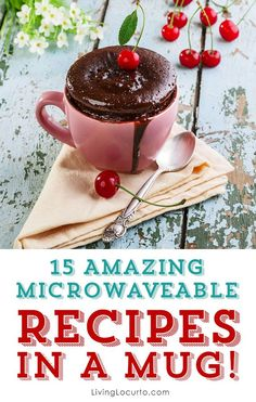 Recipes in a mug are perfect to cook in the microwave to be ready to eat in minutes. All you need is a mug and a microwave! Find breakfast, dinners and dessert recipe ideas in a mug. Enjoy these delicious recipes.