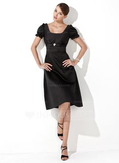 A-Line/Princess Square Neckline Knee-Length Satin Bridesmaid Dress With Ruffle Crystal Brooch (007001922) - JJsHouse