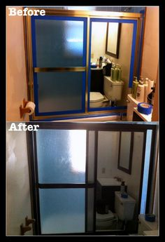 """The Collins Team is listing a home with a traditional """"gold edge"""" shower door.  Here is a great fix for those doors which lasts, has a lovely finish, and costs $8 in supplies.  First tape off the mirror and wall edges and cover-up anything you don't want painted. Use Rustoleum Oil Rubbed Bronze (or one of the other colors in the OIL line) & say goodbye to your ugly gold shower door!  Presto!"""