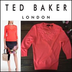 """Ted Baker XS  Fabina Embroidered Jumper Another piece of sheer brilliance from Ted, it's clear to see why this embroidered jumper with a transparent panel is a wonderful wardrobe addition. The bright (super bright) coral color is awesome! Still available on sale at Ted Baker for $114.00. Super light weight and adorable.   3/4 length sleeved Crew neck Embroidered sheer panel on the neck Fabric Content: 100% Acrylic  MEASUREMENTS Shoulders: 13.75""""  Chest: 16"""" Sleeves (shoulder seam to cuff)…"""