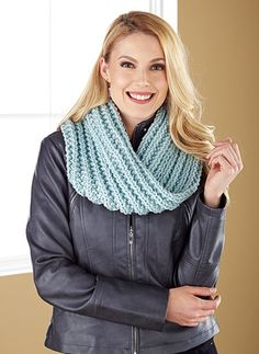 Knit this fashionable cowl using Mary Maxim Classic yarn.