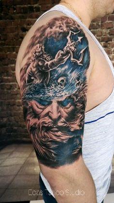 Sea Tattoo Sleeve, Hand Tattoo, Tattoo Sleeve Designs, Poseidon Tattoo, God Tattoos, Body Art Tattoos, Greek Mythology Tattoos, Roman Mythology, Zues Tattoo