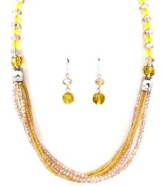 NECKLACE AND EARRING SET / BEAD / METAL CASTING / BEAD CHAIN / MULTI LAYERED / ACRYLIC STONES / TEXTURE / 21 INCH LONG / NICKEL AND LEAD COMPLIANT /