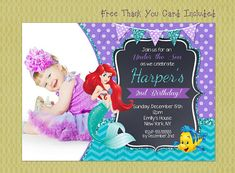 Make your childs birthday even more special with these custom party invitations.  This listing is for a High Resolution JPEG file of the invitation/card. Print as many as you need at your favorite local photo lab like Walmart, Walgreens, Costco, Etc or from your home printer!  * Free blank 4x6 thank you card included *  ♥ ♥ Ordering is easy as 1 2 3! ♥ ♥   1.Purchase your design.  2. Email me with your party info, rsvp details, photo, size,.. etc to giggleprints@hotmail.com  3. I will em...